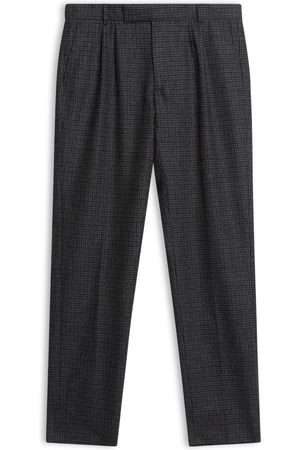Men Skinny Pants - Men's Artisanal Grey Wool Fox Brothers Flannel Check Trousers 34in Burrows & Hare