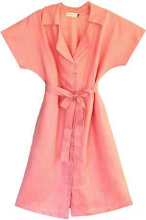 Women Casual Dresses - Women's Artisanal Pink Linen Arya Safari Shirt Dress, Medium BrunnaCo