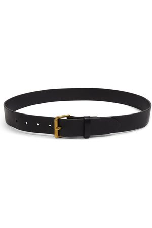 Men Belts - Men's Artisanal Black Brass Bridle Leather Belt 40in Burrows & Hare