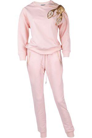 Women Sweats - Women's Non-Toxic Dyes Pink Cotton Pearl & Gold Lobster Lounge Set Medium LAINES LONDON