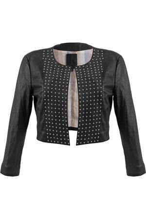 Women Leather Jackets - Women's Artisanal Black Leather Cordobesa Studded Cropped Jacket In Medium Kmana