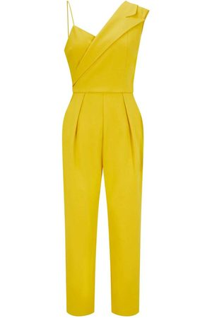 Women's Artisanal Mustard Crepe Peak Lapel Tailored Jumpsuit Yellow & Orange Small Femponiq London