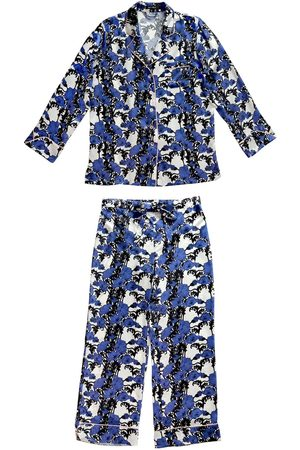 Women Pajamas - Women's Blue Silk Papaver Pyjama Set Large Emma Wallace