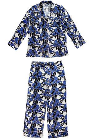 Women Pajamas - Women's Blue Silk Papaver Pyjama Set Small Emma Wallace
