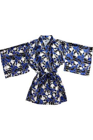 Women's Blue Silk Papaver Dressing Gown Medium Emma Wallace