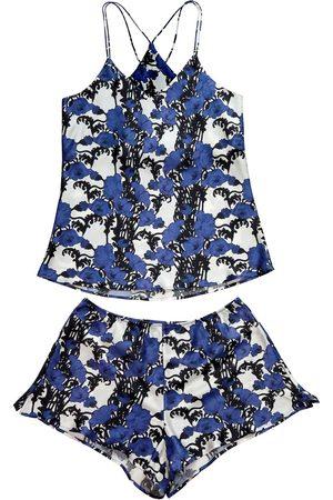 Women's Blue Silk Papaver Cami Set Medium Emma Wallace