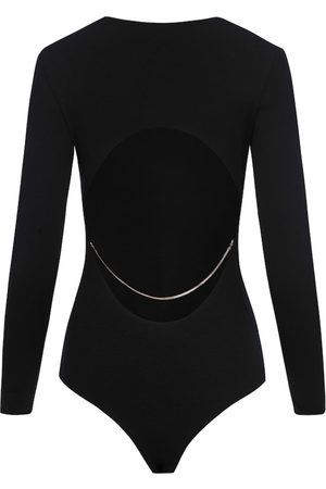 Women Body Jewelry - Women's Natural Fibres Black Fabric Cut Back Bodysuit With Chain Medium SAINT BODY