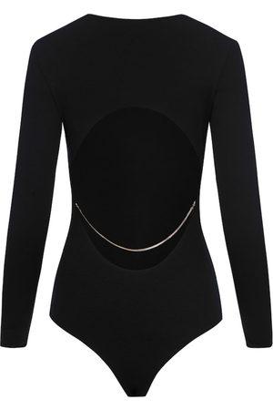 Women Body Jewelry - Women's Natural Fibres Black Fabric Cut Back Bodysuit With Chain XS SAINT BODY