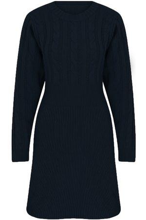 Women Casual Dresses - Women's Artisanal Blue Dark Knit Casual Dress Small kith & kin