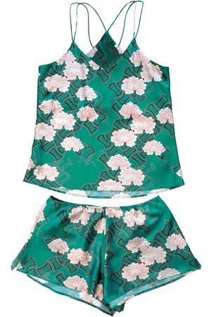 Women Sweats - Women's Green Silk Kiku Cami Set Large Emma Wallace