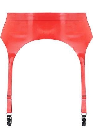 Women Underwear Accessories - Women's Artisanal Red Latex Suspender - Scarlet Large Elissa Poppy