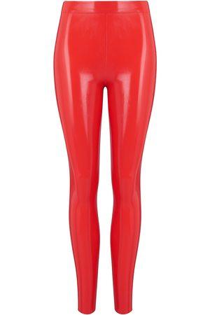 Women's Artisanal Red Latex Leggings - Scarlet Large Elissa Poppy