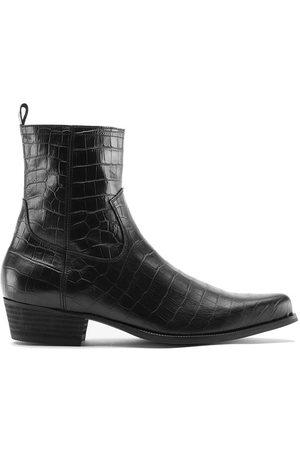 Men's Black Leather Nomad Western Boot - Python Shoes 6 UK Other