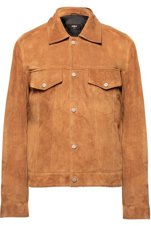 Women's Brown Suede Trucker Jacket - Tobacco Suede Large Other