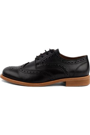 Men Brogues - Men's Organic Black Cotton Robert Brogue Shoes 7 UK LUSQUINOS