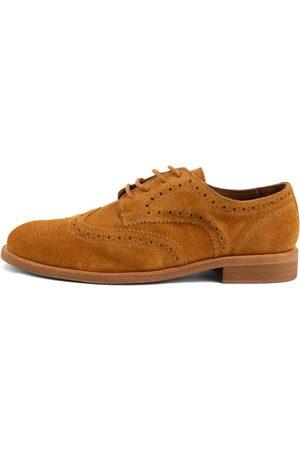 Men's Organic Natural Cotton Robert Camel Brogue Shoes 9.5 UK LUSQUINOS