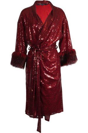 Women Kimonos - Women's Artisanal Red Ruby Sequin Koi Kimono Large Jennafer Grace