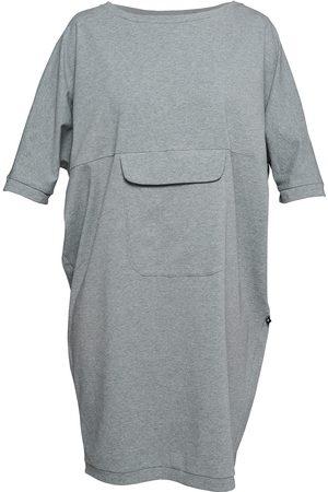 Women's Artisanal Grey Cotton Non518 Bat Dress With Pocket Large NON+