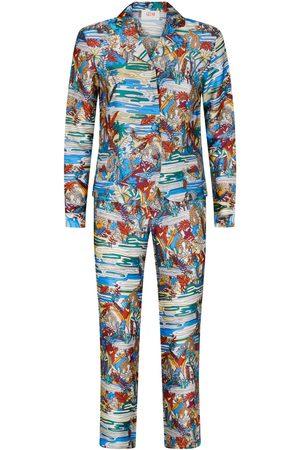 Women Pajamas - Women's Artisanal Silk Swamp Print 100% Pyjama Set Large Gelso Milano