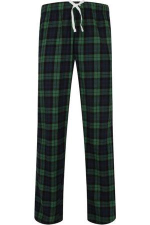 Women Pajamas - Women's Non-Toxic Dyes Green Cotton Hinksey Brushed Pyjama Bottoms - & Navy Medium Hortons England