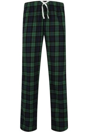 Women's Non-Toxic Dyes Green Cotton Hinksey Brushed Pyjama Bottoms - & Navy Small Hortons England