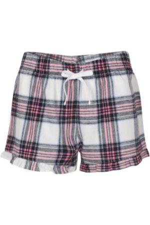 Women Pajamas - Women's Non-Toxic Dyes Pink Cotton Chesterton Brushed Pyjama Shorts - White XS Hortons England