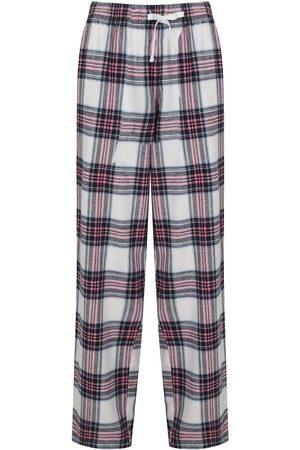 Women Pajamas - Women's Non-Toxic Dyes Pink Cotton Hinksey Brushed Pyjama Bottoms - White Medium Hortons England