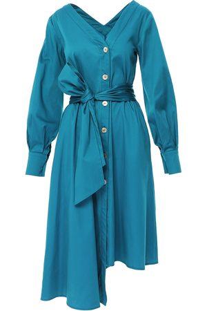 Women Asymmetrical Dresses - Women's Blue Cotton Asymmetrical Shirt Dress Medium BLUZAT