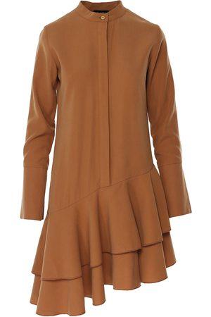 Women Asymmetrical Dresses - Women's Natural Cotton Asymmetric Beige Dress With Tunic Collar & Long Sleeve Large BLUZAT