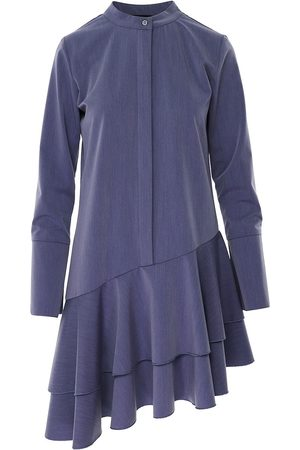 Women Asymmetrical Dresses - Women's Blue Cotton Asymmetric Dusty Dress With Tunic Collar & Long Sleeve Large BLUZAT