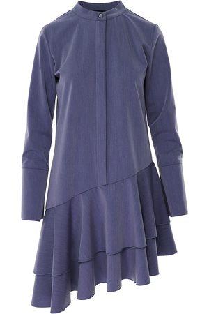 Women Asymmetrical Dresses - Women's Blue Cotton Asymmetric Dusty Dress With Tunic Collar & Long Sleeve Small BLUZAT