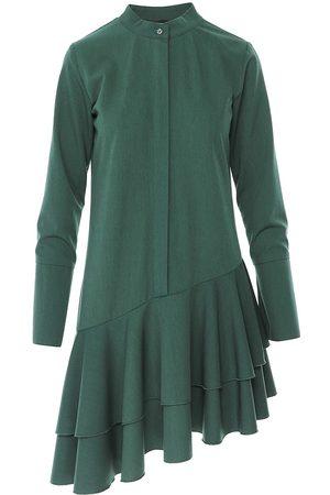 Women Asymmetrical Dresses - Women's Green Cotton Asymmetric Dark Dress With Tunic Collar & Long Sleeve Medium BLUZAT