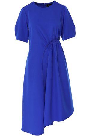 Women's Blue Crepe Asymmetric Gathered Midi Dress Large BLUZAT