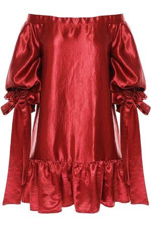 Women Strapless Dresses - Women's Red Silk Off The Shoulder Mini Dress With Ruffles Large BLUZAT