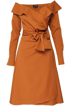 Women Strapless Dresses - Women's Brown Cotton Wrap Around Dress With Off The Shoulder Ruffled Neckline Small BLUZAT