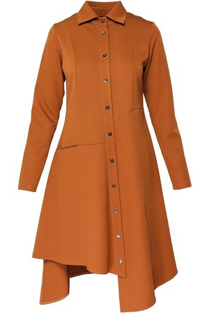 Women Asymmetrical Dresses - Women's Brown Cotton Button Up Asymmetrical Shirt Dress Large BLUZAT
