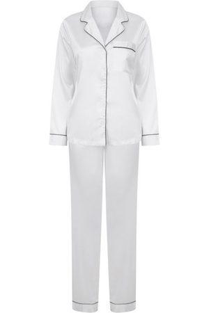 Women Pajamas - Women's Non-Toxic Dyes White Fabric Satin Pyjama Set Medium Hortons England