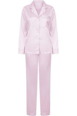 Women Pajamas - Women's Non-Toxic Dyes Pink Fabric Satin Pyjama Set Medium Hortons England