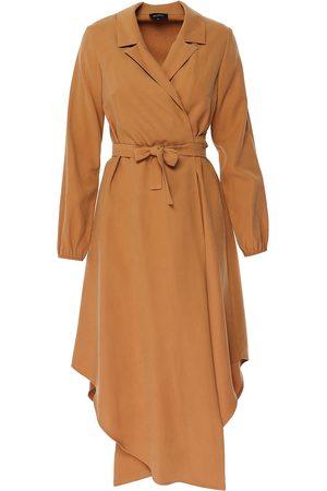 Women Asymmetrical Dresses - Women's Natural Nude Asymmetrical Dress With Drawstring Small BLUZAT