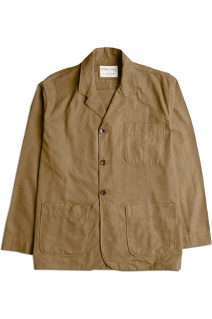 Men Blazers - Men's Brown Cotton The 3006 Organic Blazer - Khaki Medium Uskees