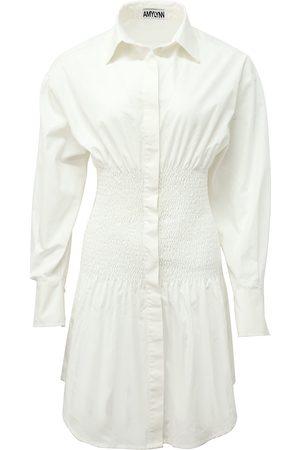 Women Casual Dresses - Women's White Cotton Kitty Dress Small AMY LYNN