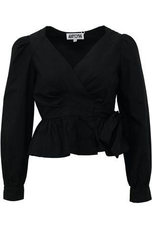 Women Wrap tops - Women's Black Cotton Alexa Top Large AMY LYNN