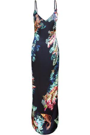 Women's Artisanal Silk Slip Dress - Jungle Print XS CASSANDRA HONE
