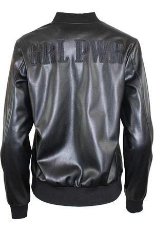 Women's Black Leather Grl Pwr Varsity Jacket - All Small Hilary MacMillan