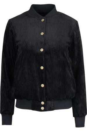 Women Leather Jackets - Women's Black Leather Corduroy Bomber Medium Hilary MacMillan