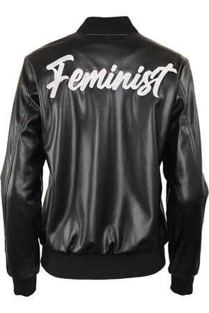 Women Leather Jackets - Women's Black Leather Feminist Varsity Jacket XL Hilary MacMillan