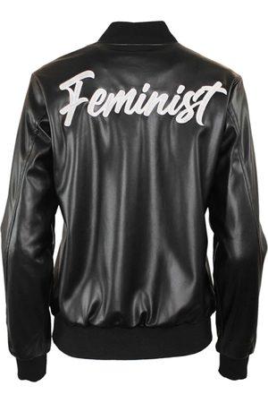 Women's Black Leather Feminist Varsity Jacket Small Hilary MacMillan