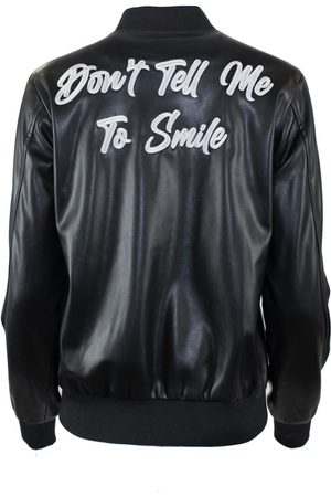 Women's Black Leather Don'T Tell Me To Smile Varsity Jacket Medium Hilary MacMillan