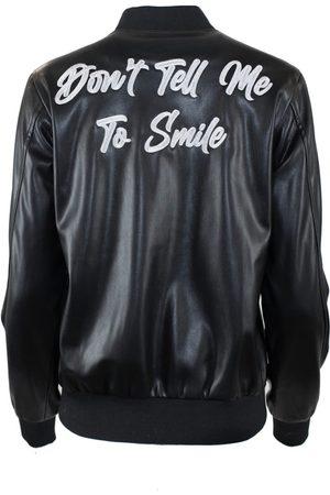 Women's Black Leather Don'T Tell Me To Smile Varsity Jacket Small Hilary MacMillan