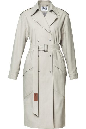 Women Trench Coats - Women's Low-Impact Natural Cotton Judith Denim Trench Medium DIANA ARNO